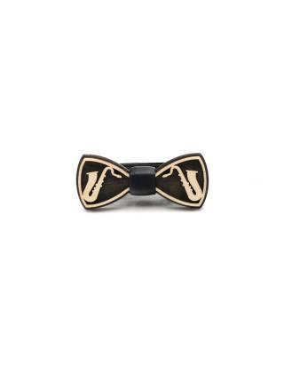 Деревянный галстук-бабочка детская Саксофон