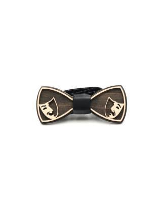 Деревянный галстук-бабочка Маски
