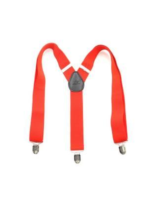 Детские широкие подтяжки красного цвета с узором в полоску
