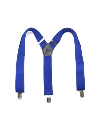 Детские широкие подтяжки синего цвета с узором в полоску