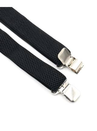 Мужские широкие подтяжки черного цвета однотонные, без упаковки