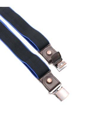 Мужские широкие подтяжки черные однотонные с синей полоской