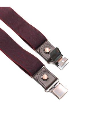 Мужские широкие подтяжки однотонные бордового цвета