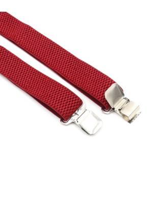 Мужские широкие подтяжки однотонные красного цвета, без упаковки