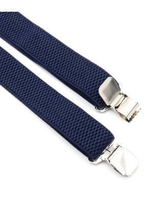 Мужские широкие подтяжки однотонные темно-синего цвета, без упаковки