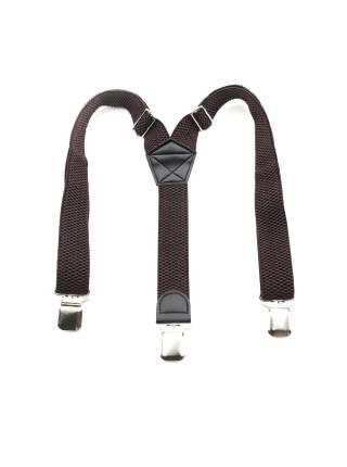 Мужские широкие подтяжки темно-коричневого цвета однотонные, без упаковки