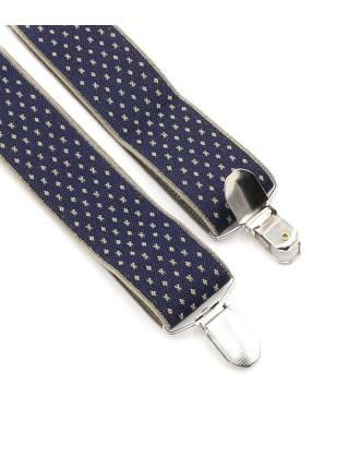 Мужские широкие подтяжки темно-синего цвета с узором в бежевый крест