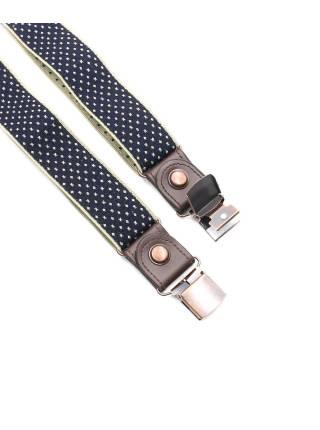 Мужские широкие подтяжки темно-синего цвета в бежевый крестик