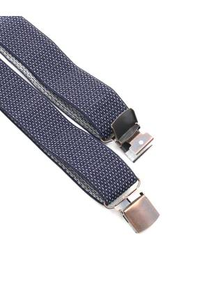 Мужские широкие подтяжки темно-синего цвета в мелкую белую крапинку