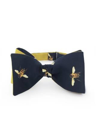 Галстук-бабочка классическая из хлопка с узором Пчелки