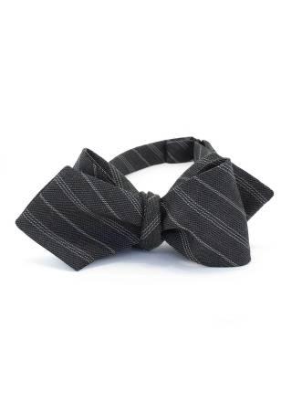 Галстук-бабочка классическая из шерсти в полоску с узором Серый Кардинал