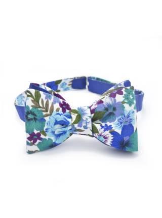 Подарочный набор галстук-бабочка из синего хлопка с нагрудным платком и запонками Василек