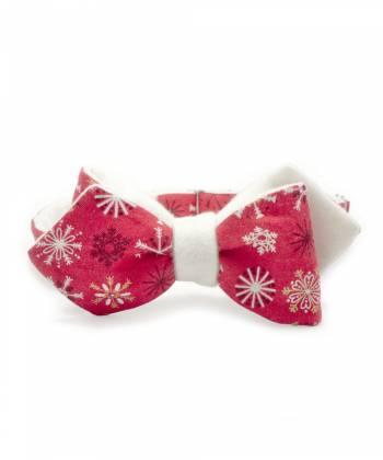 Галстук-бабочка классическая из хлопка и пушистой смесовой ткани с узором Новогодние снежинки