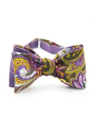 Галстук-бабочка классическая из льна и хлопка с узором Фиолетовый лен