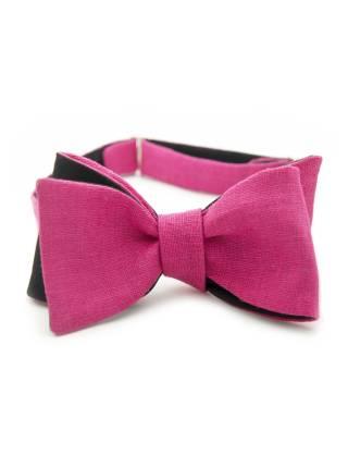 Галстук-бабочка классическая из льна и хлопка с узором Розовая Пантера