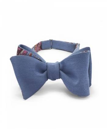 Галстук-бабочка классическая из джинсовой ткани и хлопка с узором пейсли