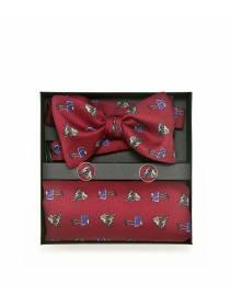 """Подарочный набор галстук-бабочка из шелковой ткани с нагрудным платком и запонками """"Лошадки"""""""