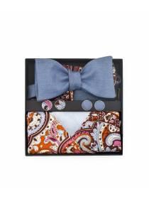 Подарочный набор галстук-бабочка из джинсовой ткани с нагрудным платком и запонками