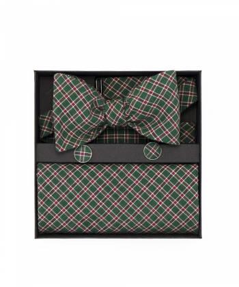 Подарочный набор галстук-бабочка из хлопка в клетку с нагрудным платком и запонками Горец