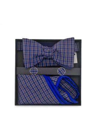 Подарочный набор галстук-бабочка из хлопковой ткани с нагрудным платком и запонками Ультрамарин