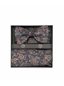 """Подарочный набор галстук-бабочка из шелковой ткани с нагрудным платком и запонками """"Людвиг"""""""