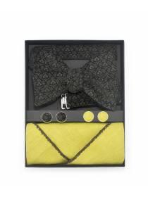 Подарочный набор галстук-бабочка из вельветовой ткани с нагрудным платком изо льна и запонками Вельветовый Камыш