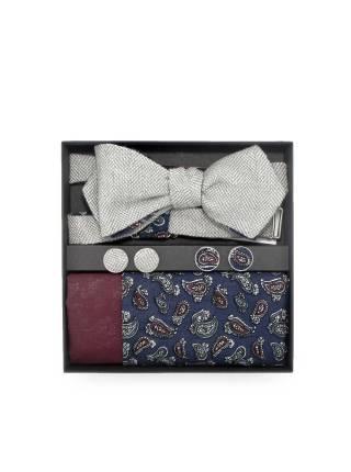 Подарочный набор галстук-бабочка с хлопковым нагрудным платком и запонками Пейсли Belle