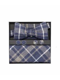 Подарочный набор галстук-бабочка с нагрудным платком в клетку и запонками Доктор Ватсон