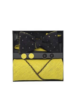 Подарочный набор галстук-бабочка с нагрудным платком и запонками Камыши