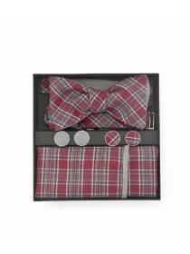 Подарочный набор галстук-бабочка с нагрудным платком и запонками Красная шотландка