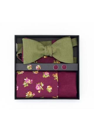 Подарочный набор галстук-бабочка с нагрудным платком и запонками Цветы Кумиру