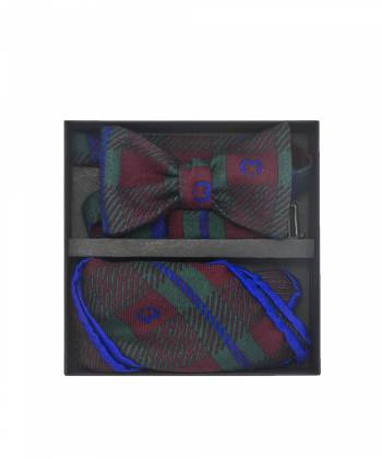 Подарочный набор галстук-бабочка с нагрудным платком из шерсти с узором в клетку Шекспир