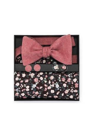 Подарочный набор галстук-бабочка с нагрудным платком и запонками Персик