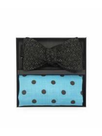 Подарочный набор галстук-бабочка из вельветовой ткани с нагрудным платком из голубого льна в горох