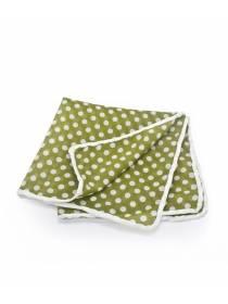 Нагрудный платок из хлопка зеленого цвета в белый горошек Стиляга