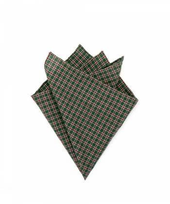 Платок-паше из зеленого хлопка в клетку Горец