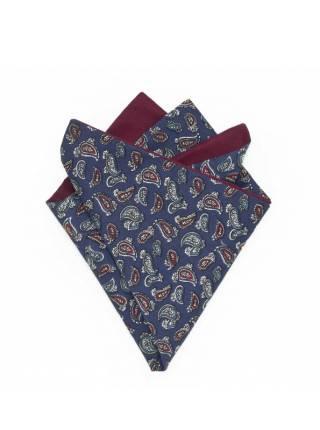 Платок-паше из хлопка с узором синий пейсли