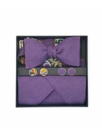 Подарочный набор галстук-бабочка с нагрудным платком и запонками Фиолетовый Лен