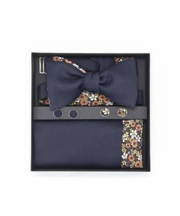 Подарочный набор галстук-бабочка с нагрудным платком и запонками из хлопка Незабудки