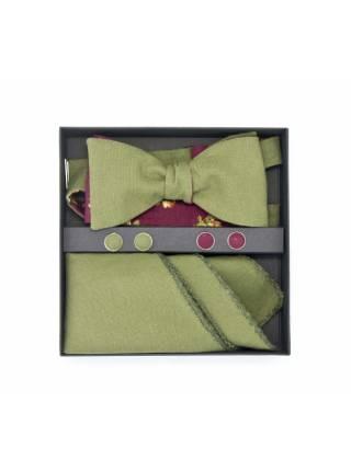 Подарочный набор галстук-бабочка с нагрудным платком и запонками Кумиру