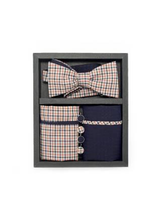 Подарочный набор галстук-бабочка с нагрудными платками и запонками Ранчо