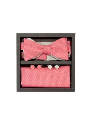 Подарочный набор галстук-бабочка с нагрудным платком и запонками Кораллы