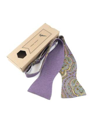 Галстук-бабочка самовяз фиолетового цвета из хлопка двусторонняя