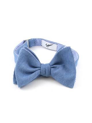 Галстук-бабочка самовяз синяя из джинсовой ткани двусторонняя