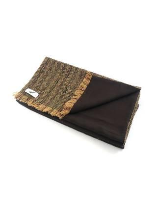 Мужской шарф шерстяной коричневого цвета в ёлочку с подкладкой