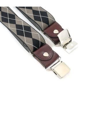 Мужские широкие подтяжки для штанов коричневого цвета с ромбом