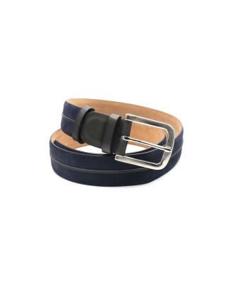 Мужской ремень из нубука темно-синего цвета с кожаным темно-серым элементом, пряжка цвета хром