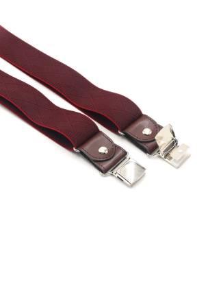 Мужские широкие подтяжки для штанов бордового цвета с тиснением ромб