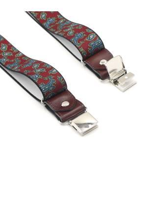 Мужские широкие подтяжки для штанов бордовые пейсли