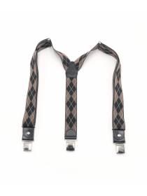 Мужские широкие подтяжки для штанов LALEAS коричневого цвета с ромбом